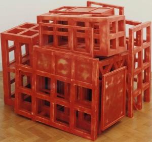 1991, Jan Goossen, Casa de los Pensamientos Encarcelados, gepolychromeerd hout, Foto Martin Stoop